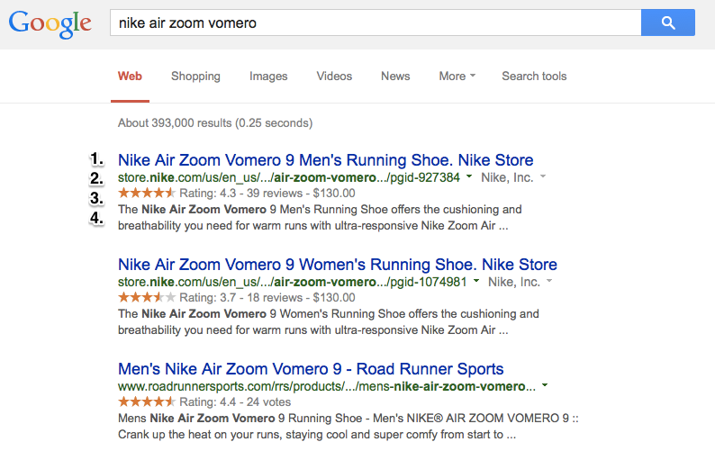 Nike Zoom Vomero Search Engine Results Page