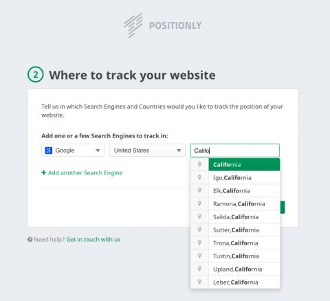 Positionly where to track your site
