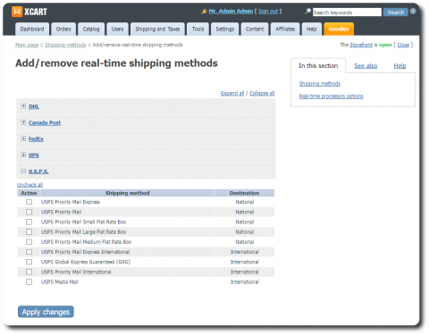 Shipping methods page Admin