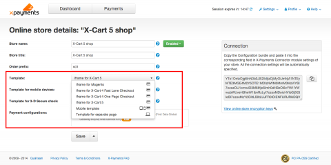 Templates management in X-Payments