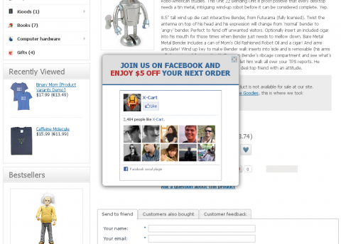 popup anywhere:discount for facebook like