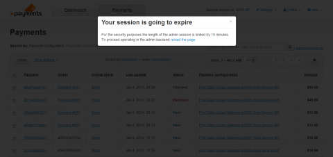 Admin session expired popup