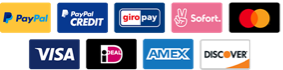 Payment systems: PayPal, PayPal Credit, GiroPay, Sofort, MasterCard, VISA, iDeal, AMEX, Discover