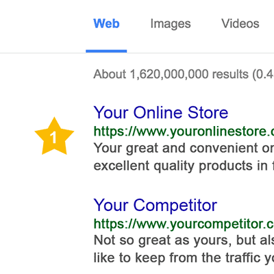At the top of Google search results