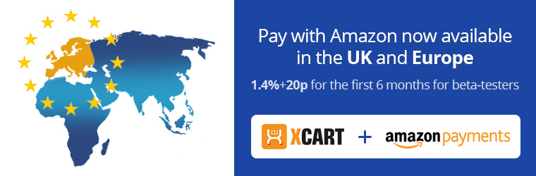 Pay with Amazon available in the UK and Europe. 1.4%+20p for the first 6 months for beta-testers