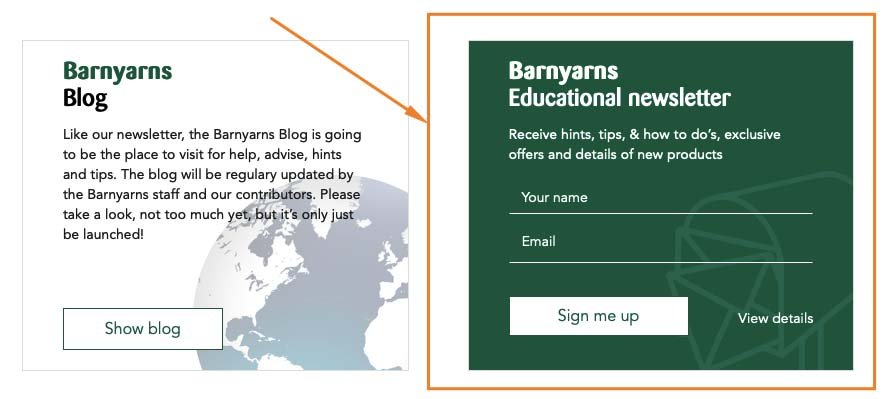 Barnyarns Newsletter Subscription design