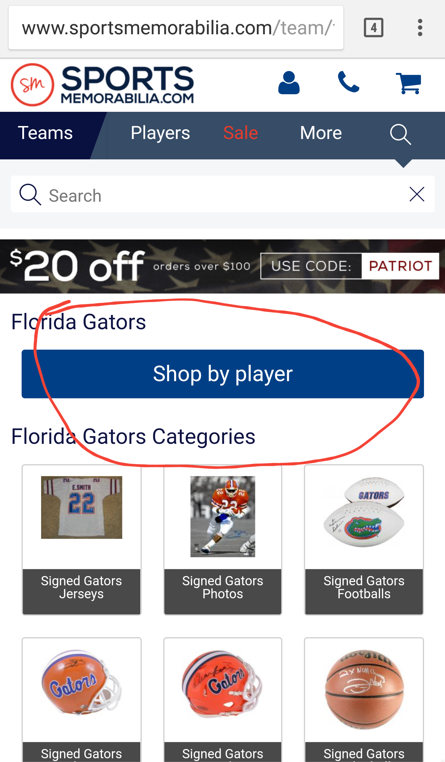 Sports Memorabilia's Mobile Site Categories