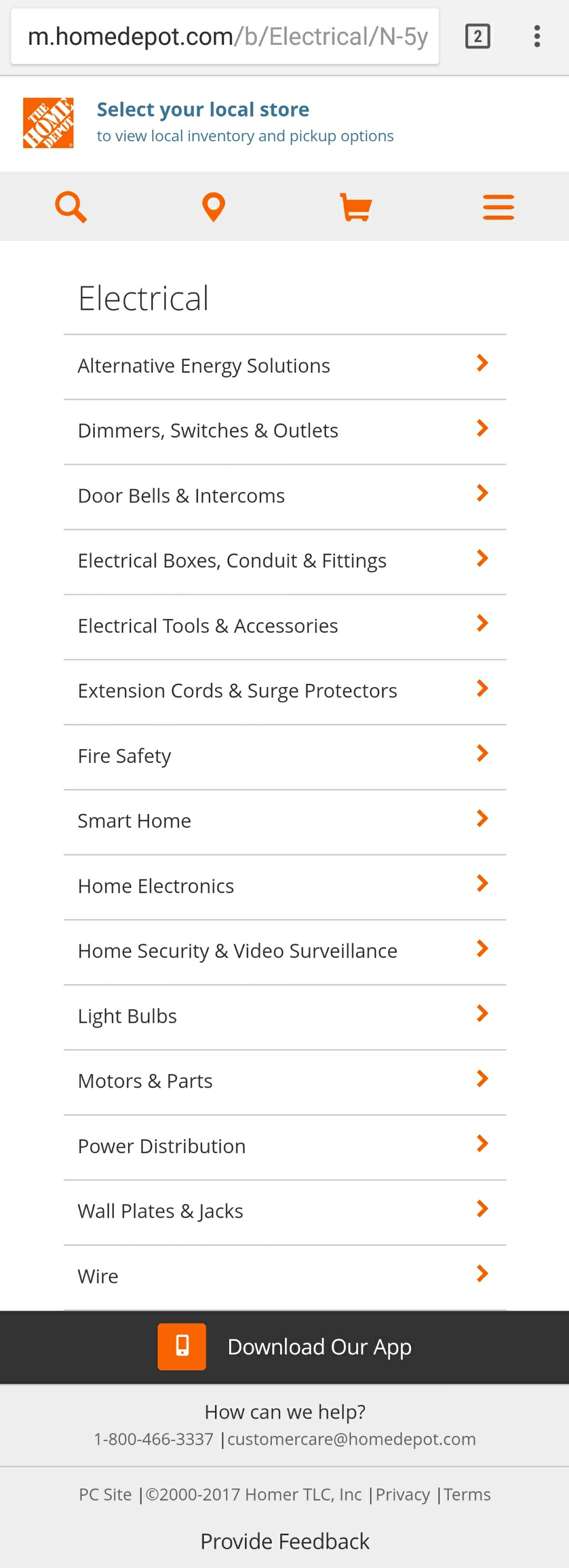 Homedepot Mobile Category Page