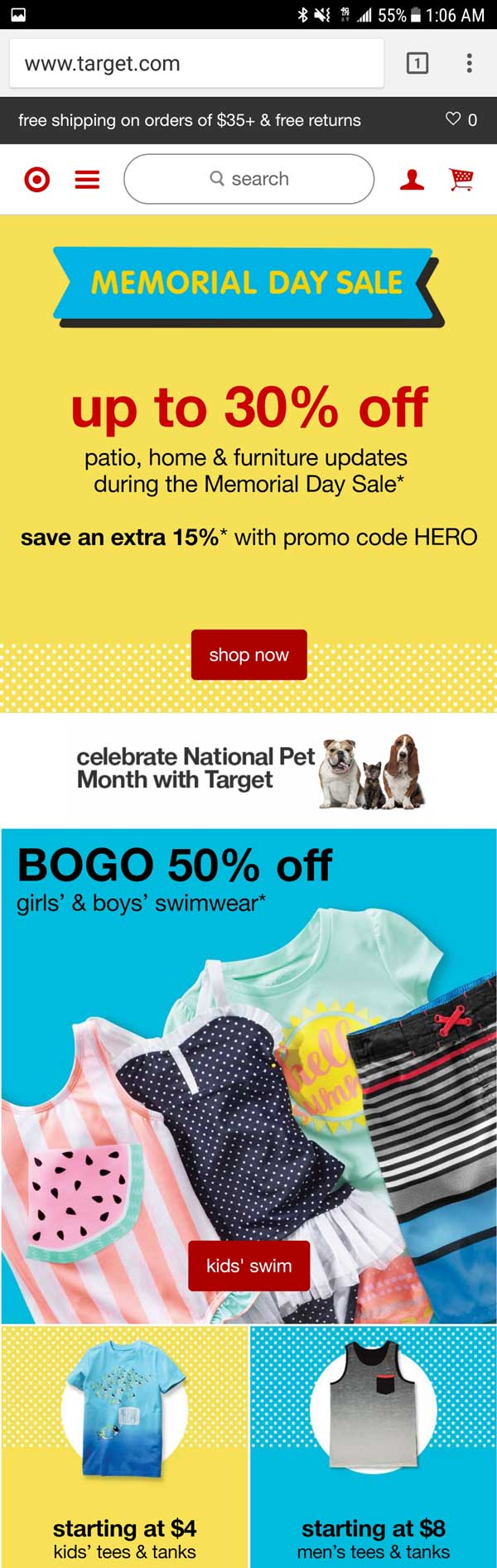 Target's Mobile Home Page Is Tapable