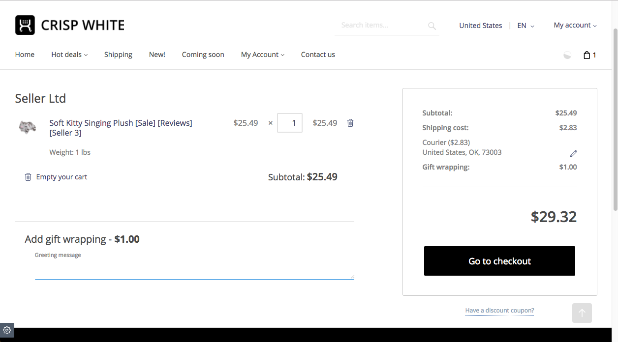 Adding gift message on checkout