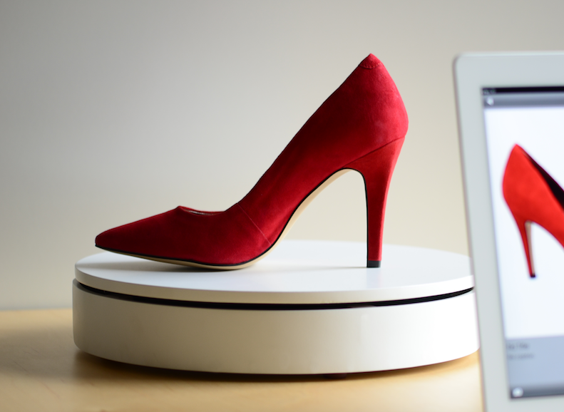 Red shoe and iPad