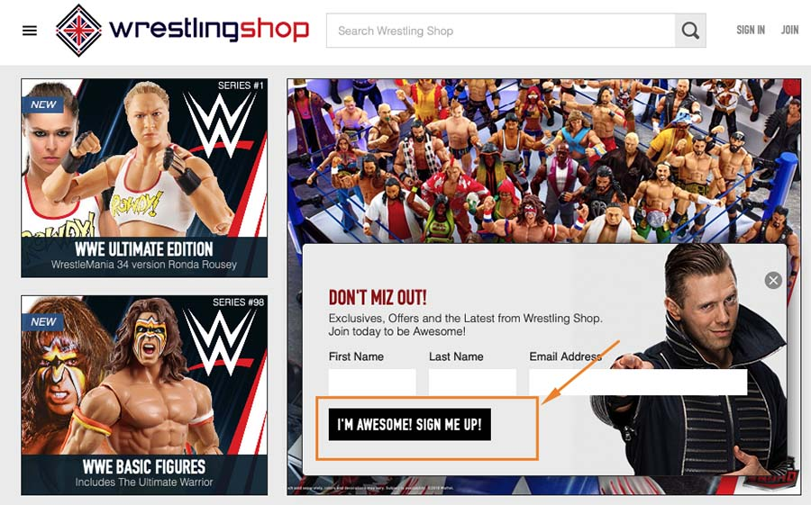 WrestlingShop signup form design