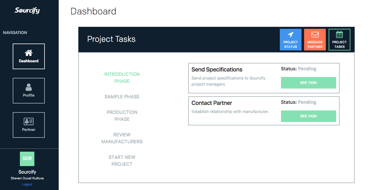 Sourcify project management dashboard