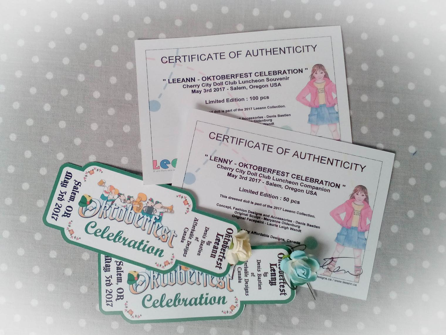 Certificate of authenticity. Denis  Bastien