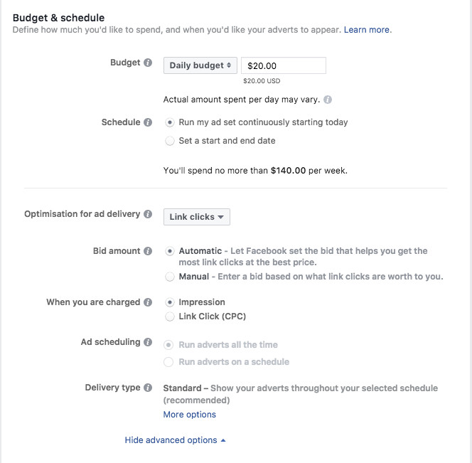 Setting budget and schedule of Instagram ads