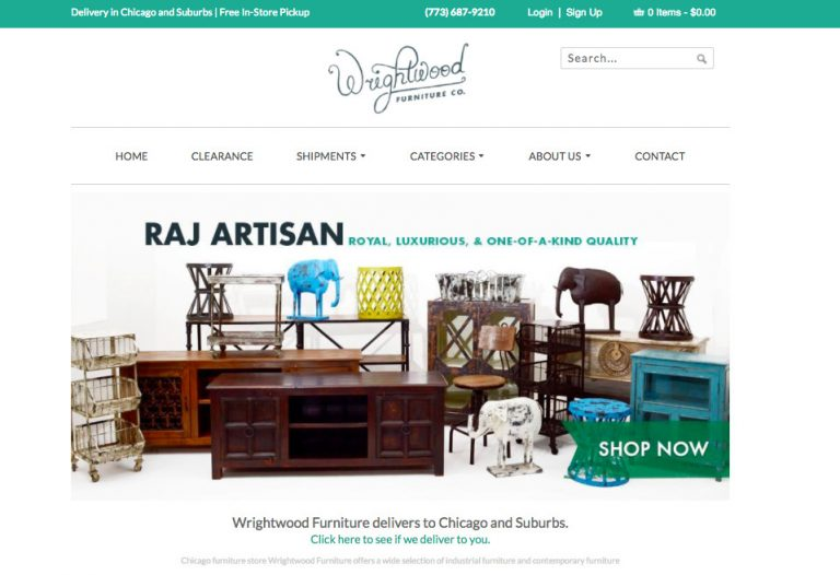 Wrightwood Furniture website color scheme