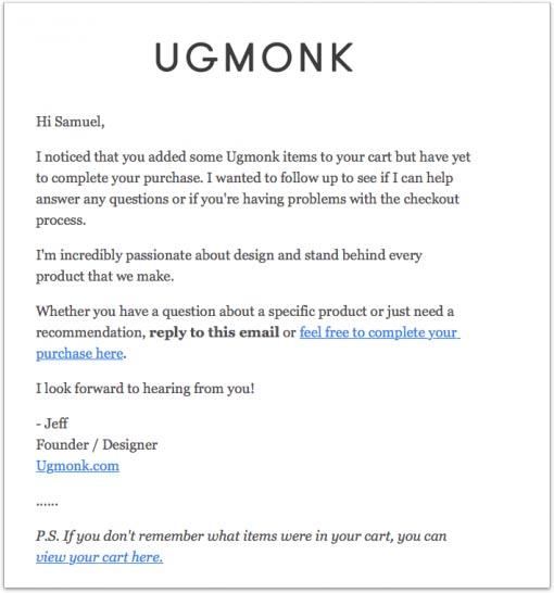 Ugmonk Abandoned Cart Email