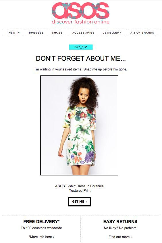 ASOS abandoned cart email