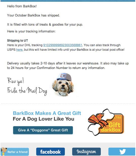 Bark Box shipping notification