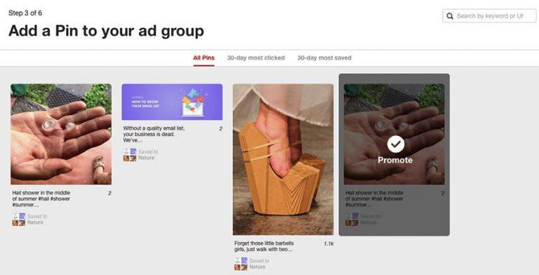 Choosing a pin for Pinterest ads