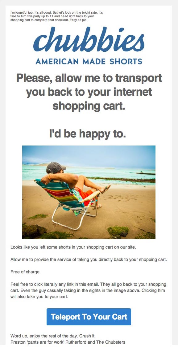 Cart abandonment email from Chubbies
