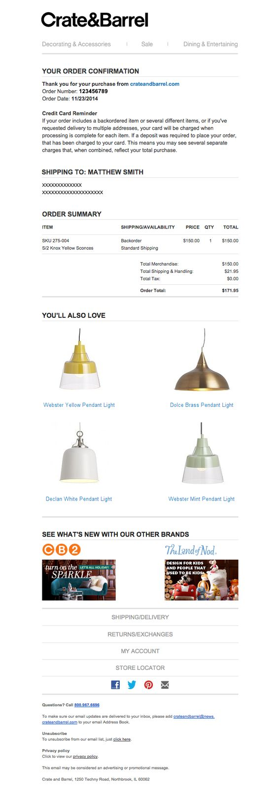 Order confirmation email 20 amazing templates and examples crate barrel order confirmation maxwellsz