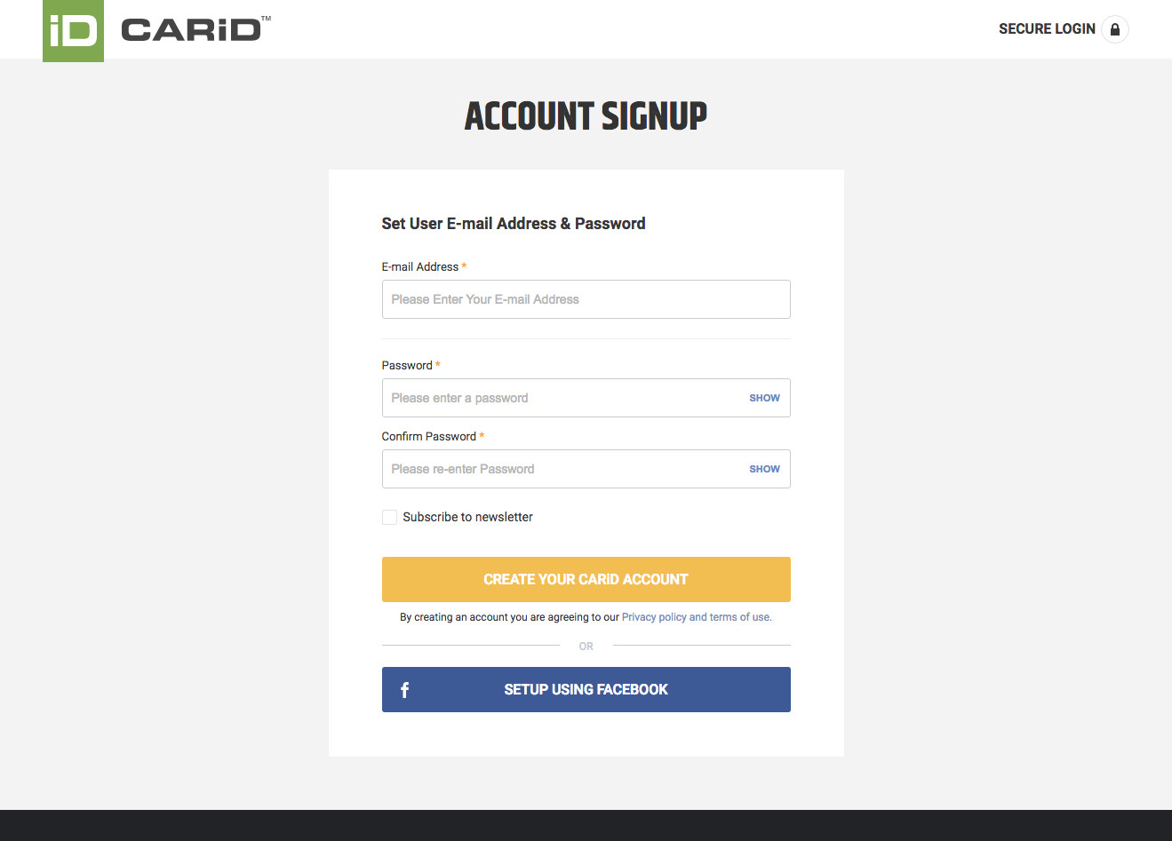 CarID's account signup page