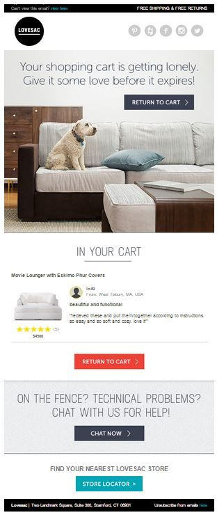 Lovesac abandoned email