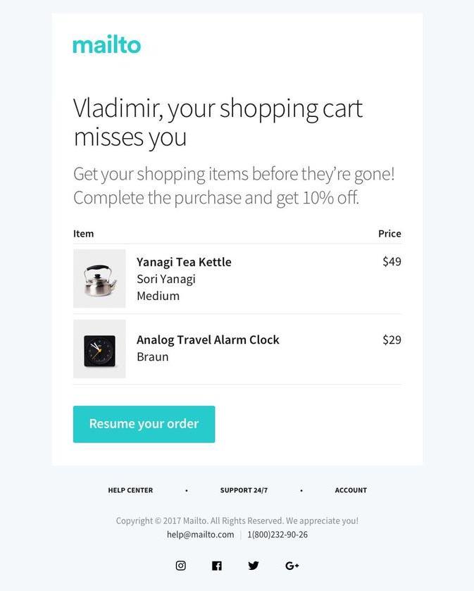 Mailto abandoned cart email