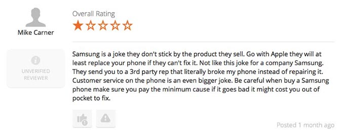 Negative review about Samsung