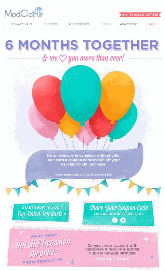 Mod cloth birthday email