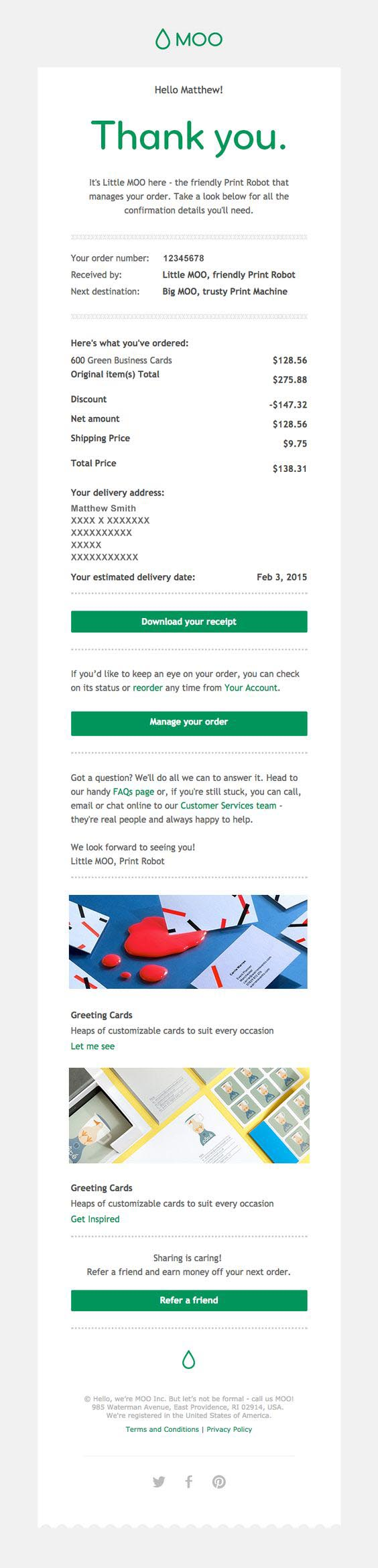 Order confirmation email from MOO