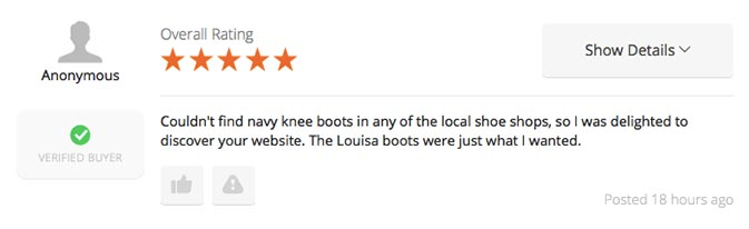 Good review about navy boots