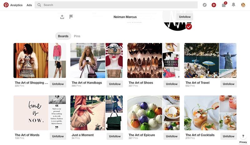 Neiman Marcus Pinterest board