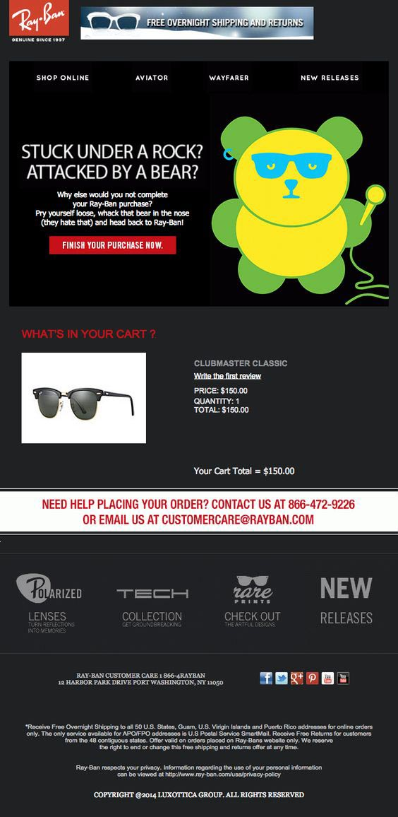 Ray Ban abandoned cart email