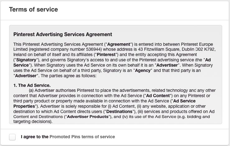 Pinterest Terms of Service