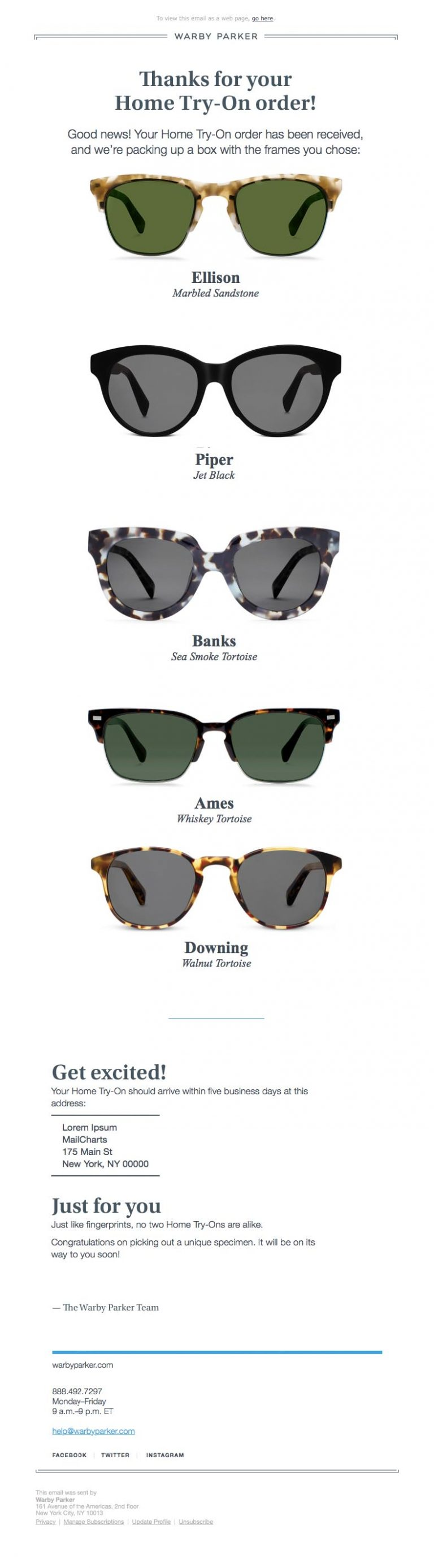 Warby Parker transactional email