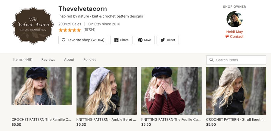 Craft store The Velvet Acorn on Etsy