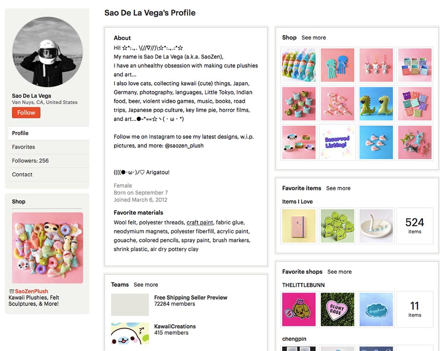 Fill profile on Etsy