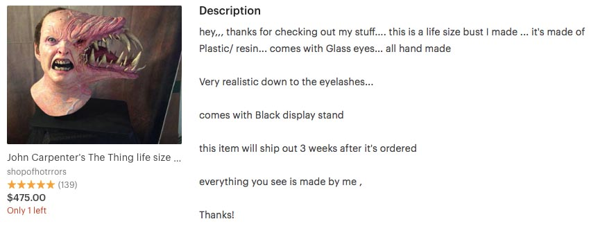 Item description on Etsy