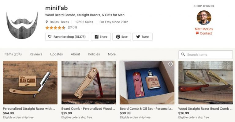 MiniFab. Men selling on Etsy