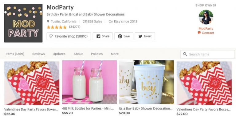 Party deco on Etsy