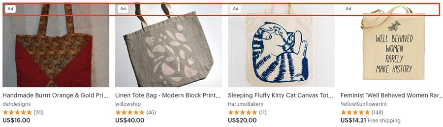 Promoted items on Etsy