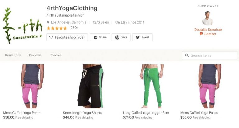 Yoga clothes on Etsy