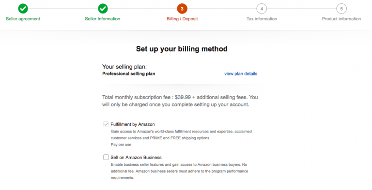 Fulfillment by Amazon: billing method