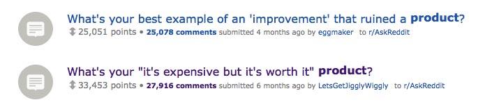 Find product ideas on Reddit