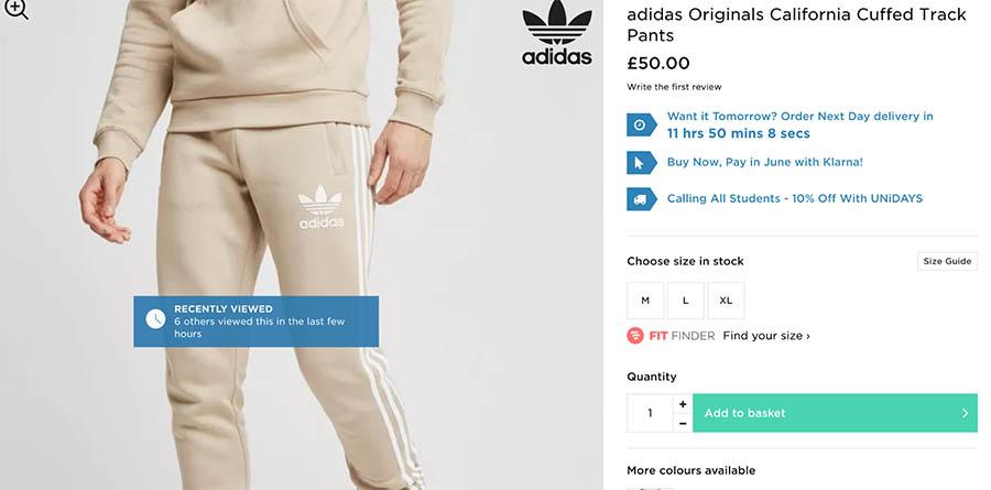 Adidas product listing