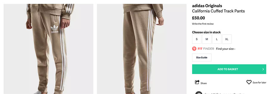 Product listing on Adidas