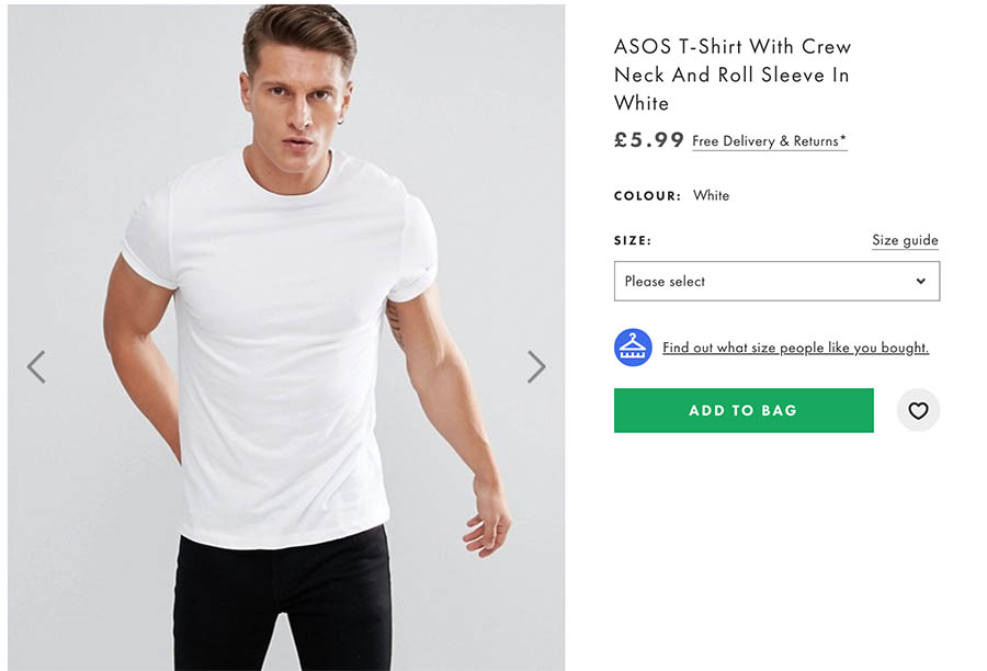 Product listing at ASOS