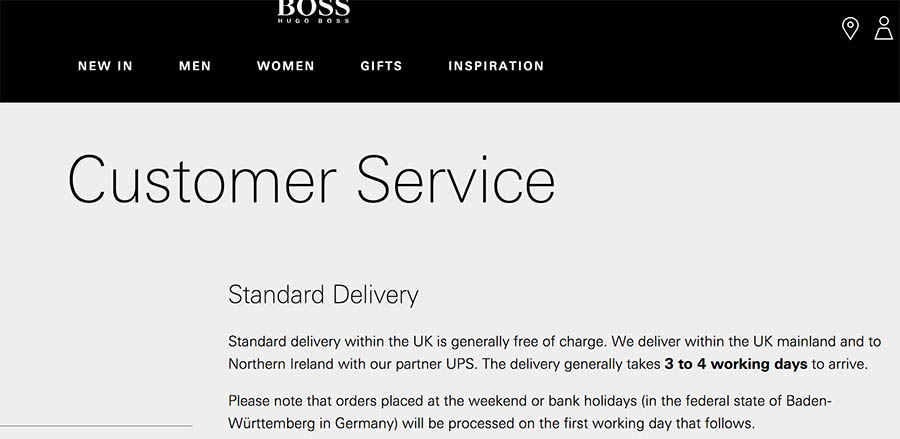 HUGO BOSS customer service